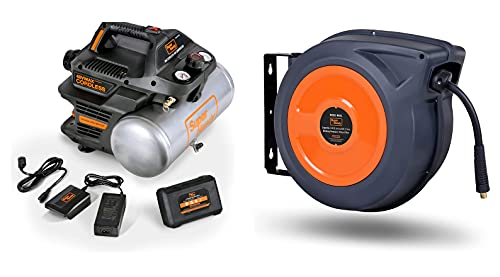 """SuperHandy Air Compressor Cordless 2 Gal 135 PSI 10Amp 3/4eHP Portable Tire Inflator and Air-Hose-Reel Retractable (3/8"""" x 50' Feet) Hybrid Polymer for Air/Water - BUNDLE"""