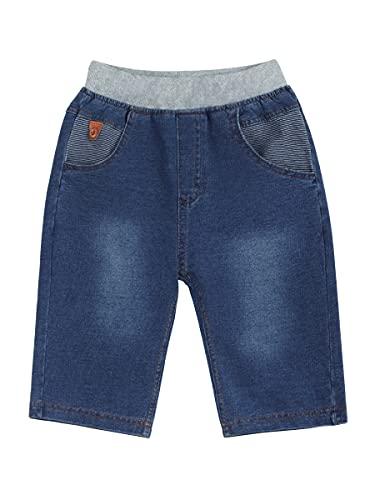 Baby Kinder Baumwolle Jeans Shorts Jeansbermudas Gestrickte Elastische Denim Kurze Hosen - Cartoon Auto Pattern Gr. 98-104