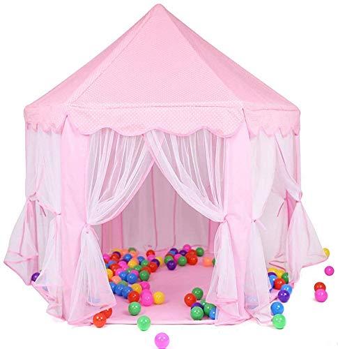 Hochwertiges Zelt Gewächshaus Zelt Princess Castle Kinder-Spiel-Zelt Mädchen Spielzeug-Spiel-Zelt for Kinder Spielhaus mit Stern-Lichtern Geschenk for Kinder Indoor & Outdoor Games (Color : Pink)