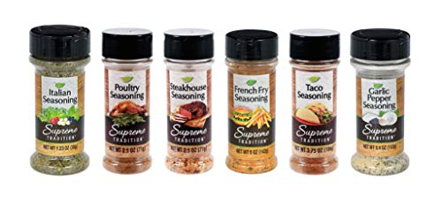 Supreme Spice Starter Set with 6 Essential Spices for Cooking Basics – 6 Piece Spice Gift Set Includes Italian Seasoning, Garlic Pepper, Poultry, Steakhouse, Taco and French Fry Seasonings