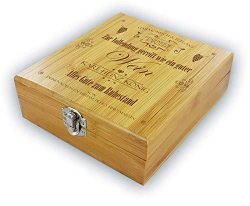 """die stadtmeister Persönliche Geschenkbox mit Weinzubehör aus Bambus / """"Zur Vollendung gereift wie EIN guter Wein""""/ zum Ruhestand/personalisierbar mit Wunschnamen als Geschenk für Weinliebhaber"""