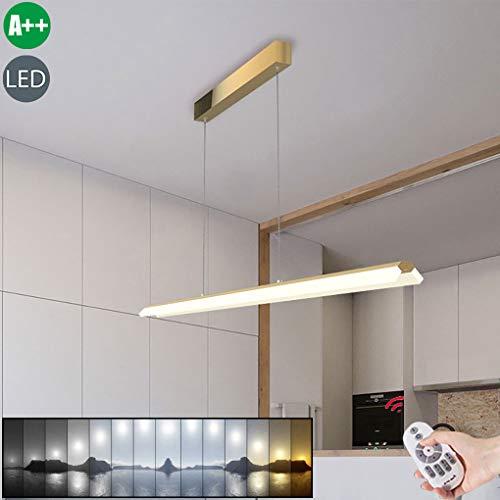 LED kroonluchter dimbare lange eettafel lamp hanglamp in hoogte verstelbaar hanglamp bureaulamp moderne acryl hanglamp woonkamer plafondlampen met afstandsbediening voor eetkamer keuken L100cm