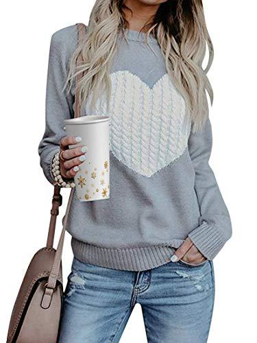 Tuopuda Mujer Jerséis Punto Suéter de Moda Cuello Redondo Manga Larga Sudaderas Blusas Cálido de Invierno Tops