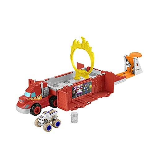 Blaze y los Monster Machines de Nickelodeon Camión lanza y salta con coche de juguete, regalo para niños +3 años (Mattel GYD04)