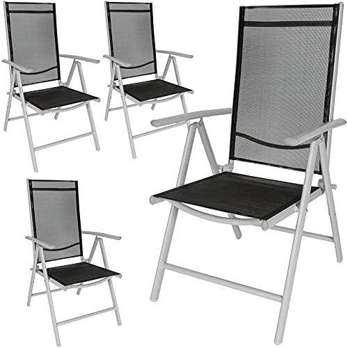 TecTake Set di alluminio sedie da giardino pieghevole con braccioli - disponibile in diversi colori e quantità - (Grigio chiaro | 4 sedie | no. 401632)