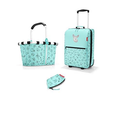 mooie Reisenthel kinderreisset 3-delig Bestaande uit reiskoffer/trolley, winkelmandje/carrybag XS en kleine portemonnee in de nieuwe decor Cat at Celers & Dog