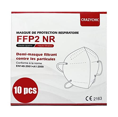 CRAZYCHIC - FFP2 Maske Atemschutzmaske - CE Zertifiziert EN 149 Schutzmaske - Mundschutzmaske - Staubschutzmaske - Hohe Filtration Maske 10 Stück