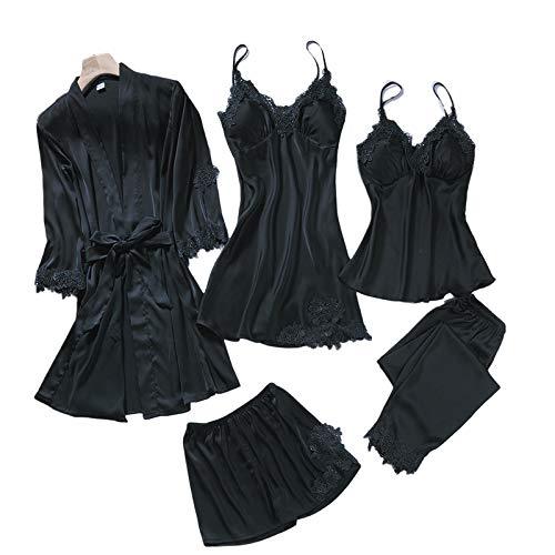 GHRFZC Conjunto de Pijama de Verano - Primavera Verano Mujeres Sexy Pijama de Seda 5PC Set Sling Manga Larga camisón de Seda Delgada Traje de Dormir, Negro de 5 Piezas, M