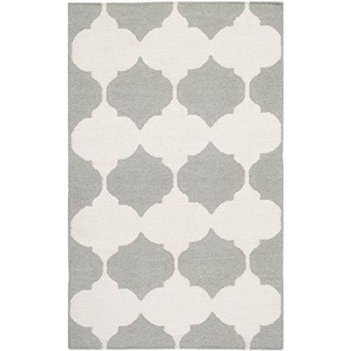 Safavieh Dhurries Collection DHU624B Handgemachter Flachgewebe Premium Wolle Akzent-Teppich, 70 x 100 cm, Grau / Elfenbeinfarben