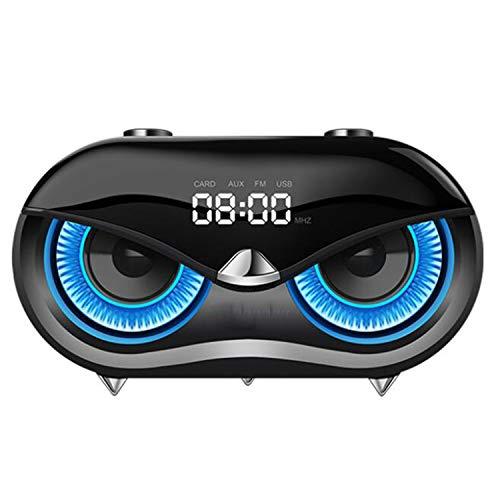 FXMINLHY Kabelloser Stereolautsprecher-Subwoofer mit FM-Radio, Cat-Eye-Lautsprecher für Home Party Car und Travel, Musikwiedergabe für 10 Stunden (Black)