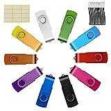 Uflatek Memorias USB 2.0 10 Piezas 16GB Sticks Flash Drive Giratoria Pendrives 16 GB Multicolor Almacenamiento Datos