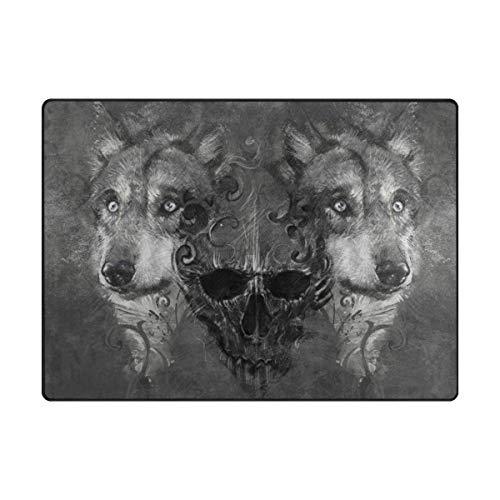 Mnsruu Grand tapis contemporain 203 x 147 cm, motif tête de mort, loup, tapis de sol doux pour salon et chambre à coucher