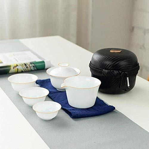 Porcelain Tea Sets Travel Binnenlandse Zaken Cups Container Met Zak Japanse Kung Fu Tea Set One Pot Twee Koppen Portable theepot theekopje, blauw LMMS (Color : Golden)