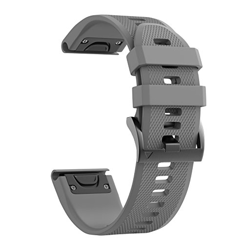 ANCOOL Compatible with Fenix 5 Band Easy Fit 22mm Width Soft Silicone Watch Strap Replacement for Fenix 5/Fenix 5 Plus/Forerunner 935/Approach S60/Quatix 5 - Grey