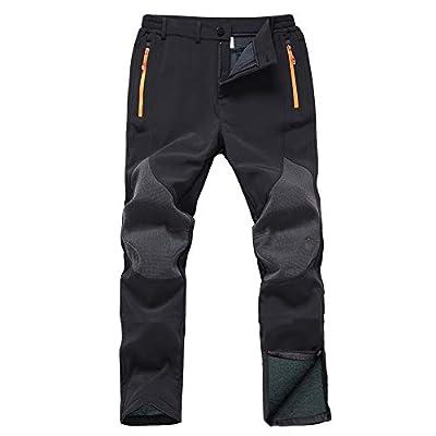 Gash Hao Mens Snow Ski Waterproof Softshell Snowboard Pants Outdoor Hiking Fleece Lined Zipper Bottom Leg (Black, 36W - 34L)