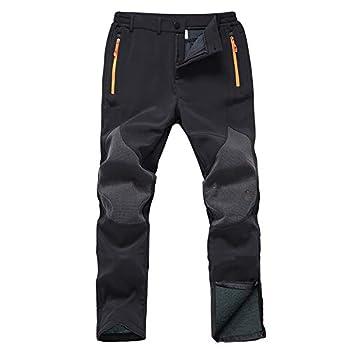 Gash Hao Mens Snow Ski Waterproof Softshell Snowboard Pants Outdoor Hiking Fleece Lined Zipper Bottom Leg  180Black 32W x 32L