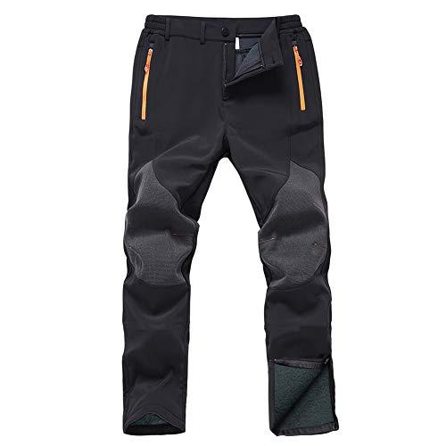 Gash Hao Mens Snow Ski Waterproof Softshell Snowboard Pants Outdoor Hiking Fleece Lined Zipper Bottom Leg (Black, 30W - 30L)
