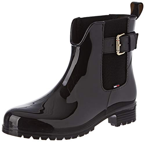 Tommy Hilfiger Damen COOL Tommy Ribbon Rainboot Gummistiefel, Schwarz (Black 990), 40 EU