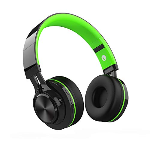 Cuffie Bluetooth Senza Fili, Alitoo Wireless Cuffie Over Ear con Microfono, Pieghevole Stereo Headphones Cancellazione Del Rumore Compatibile con Smartphone,Android,PC,TV,MP3 (Nero&Verde)