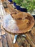 Mesa de roble centelar de madera de pie – Diámetro de +– 86 cm – Altura 74 cm – Grosor del tablero 5 cm – Pie de acero inoxidable para 3 personas – Cada pieza es única