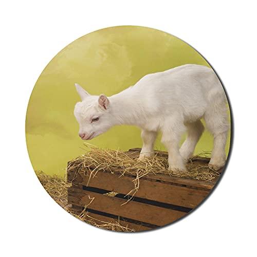Ziegen-Maus-Pad für Computer, rustikale Inspirationen in Baby Goat Photograph mit Heu- und Vintage-Kiste, rundes, rutschfestes, dickes, modernes Gaming-Mousepad aus Gummi, 8 'rund, gelb, grün, braun,