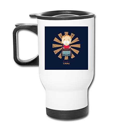 Timmy Retro Japonés South Park 16 oz Vaso de acero inoxidable doble pared taza de café con tapa a prueba de salpicaduras para bebidas calientes y frías