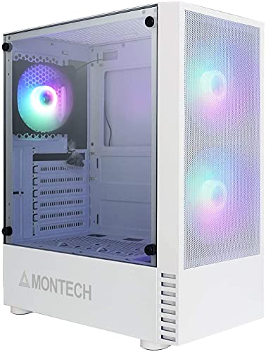 Montech X2 MESH White - Compact ATX Mid Tower Case, Fine Mesh Front Panel, Pre-Installed 2 x 140mm, 1 x 120 mm Autoflow Rainbow Led Fans, High Airflow, Full Glass Side Panel
