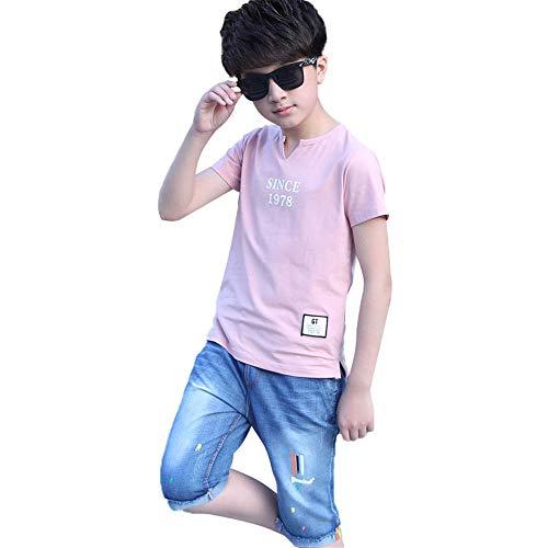 Ensemble manches courtes Summer Boys Ensemble t-shirt et short à manches courtes pour enfants - T-shirts à col en v imprimés avec une lettre et un jean bleu pour garçon Pour les loisirs sportifs d'été