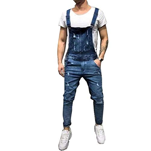 Fansu Salopette da Uomo con Jeans, Tuta di Jeans Strappati Moda Lavaggio Rotto Tasca Pantaloni Reggicalze Pantaloni Casual da Elasticizzato (S,Blu scuro)