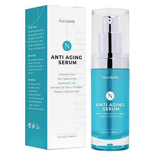 Nutrobelle Collagen Hyaluronic Acid Serum for Face – Anti Aging Serum Fragrance Free – Hyaluronic Acid Serum for Skin Intensely Hydrates, Plumps, Moisturizes + Smooths Fine Lines + Wrinkles-1 oz