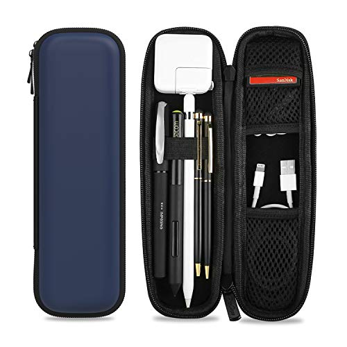 ProCase Hülle Stifthalter für iPencil 1. 2. Gen/Samsung/Huawei/Surface Stylus Pen, Eva Tasche Schutzhülle mit Ablagefach für S Pen und USB Kabel -Navy
