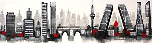 Cuadro Pintado de Madrid 120x35 cm Moderno, Blanco y Negro con Detalles en Rojo, sobre Lienzo, Listo para Colgar. 100% Original. Torres Kio, Torrespaña, el Manzanares.