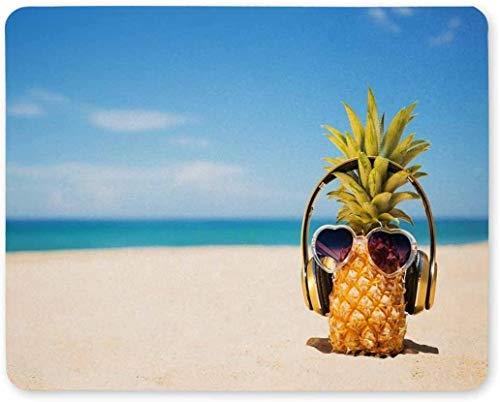 Gaming-Mauspad, Mauspad Ananas tragen Sonnenbrille am Strand Mousepad Gaming rutschfeste Gummi-Mausmatte