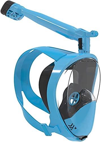 AWJ Buceo Máscaras de Snorkel Máscaras de Buceo Submarino 360 Grados Girar 180 Vista Antivaho Antifugas Equipo de Snorkel Profesional de Cara Completa para Adultos (Color: Negro, Tamaño: L-