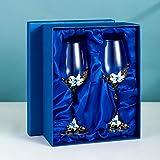 Bicchieri da vino in cristallo soffiato a mano, da 320 ml, bicchieri da vino rossi e bianchi, smaltati a mano, per gin, bar, e feste, in confezione regalo doppia blu