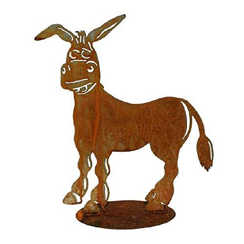 EQT-TEC *Premium* Gartendekoration Esel Edelrost Gartenstecker Gartenfigur Tier Deko