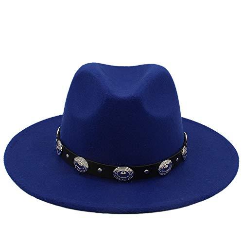 Xuguiping warme goedkope unisex wol jazz hoeden heren fedorahut vrouwen vilthoed cowboy panama hoed voor vrouwen Derby Fedoras 56-58cm blauw
