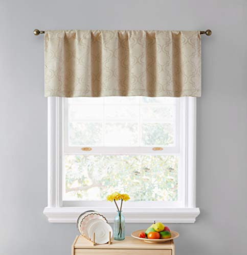 """HLC.ME Redmont Lattice Thermal Insulated Blackout Decorative Back Tab Rod Pocket Tailored Curtain Valance Topper for Kitchen, Bathroom, Basement and Small Windows, 52"""" x 18"""", Taupe"""