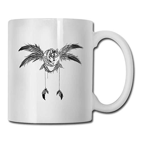 Taza de ala de lobo, taza de café para bebidas calientes, taza de gres, taza de café de cerámica, taza de té de 11 onzas, divertida taza de regalo para té y café