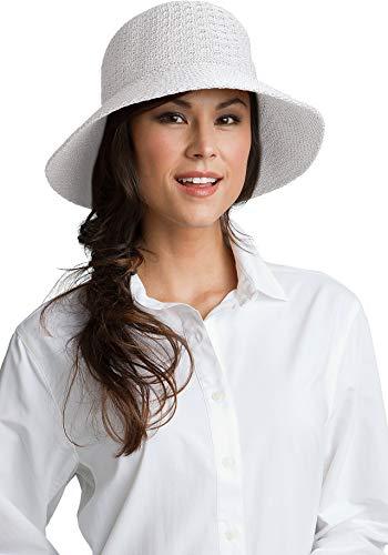Coolibar UPF 50+ Women's Marina Sun Hat - Sun Protective (One Size- White)