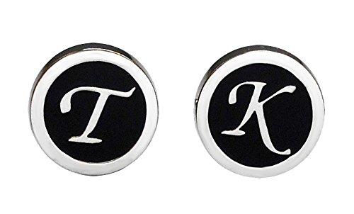 magdalena r. Monogramm Manschettenknöpfe F, G, I, K, L, O, S, T, U, V schwarz silbern rund Outlet Sie können 2 Verschiedene Buchstaben wählen!