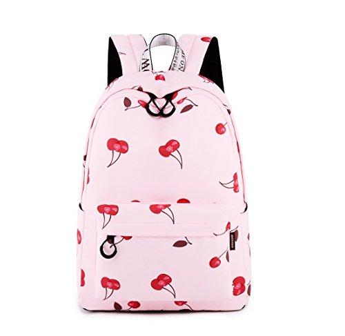Acmebon Wasserdichter Stilvoller Schulrucksack für Jugendliche Mädchen Geräumiger Rucksack Tasche für Frauen Kirsche