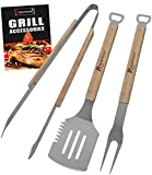 ROMANTICIST 3pc Heavy Duty BBQ Grilling Tools Set - Extra Thick Stainless Steel Spatula Fork Tongs...