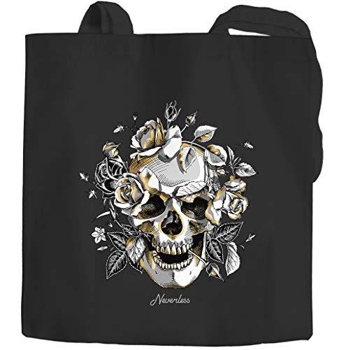 Autiga® Bolsa de yute con diseño de calavera, rosa, calavera, flores, bolsa de algodón, color negro, 2 asas largas