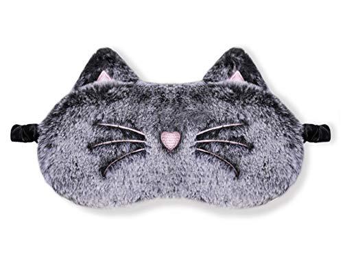 dressfan Tier Katze Schlafmaske Kinder Frauen Mädchen Süße Plüsch 3D Cartoon Augenmaske Seide Schattierung Augenbinde Nachtmaske Tragbarer für Reisen Nickerchen,Schwarze