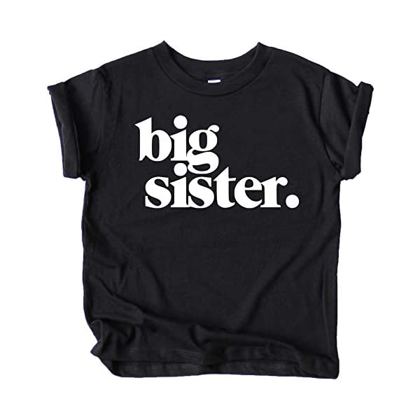 Bold Big Sister Colorful Sibling Reveal Announcement T-Shirt for Baby and Toddler Girls Sibling Outfits Black Shirt Youth Medium