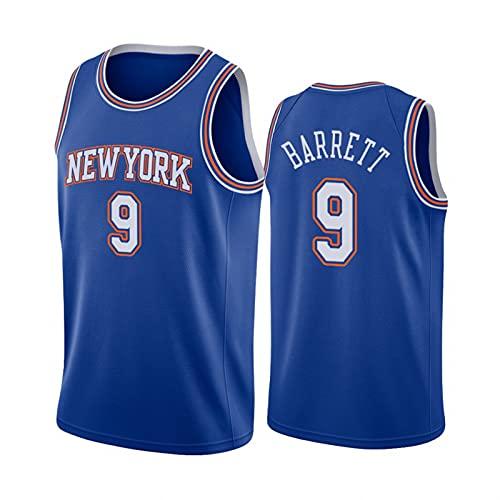 FHXY Barrett Knicks # 9 Jersey de Baloncesto, Camiseta de algodón de Malla Bordada, Tela Retro Fresca y Transpirable Jersey All-Star L