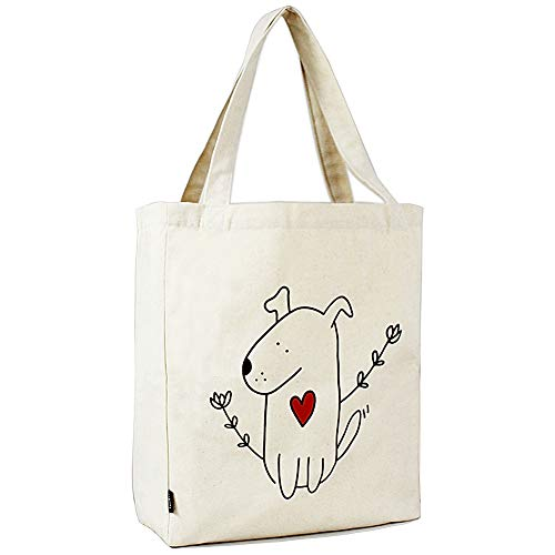 Canvas Tote Bag with 3 Inner Pocket Cotton Heavy Duty Gusseted Shopping Bag for Weekend Overnight School Book