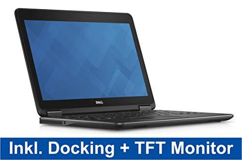 Home Office Bundle Dell Latitude E7240 12,5 Zoll HD Intel Core i7 256GB SSD 8GB Win 10 Pro UMTS + Dockingstation + Monitor Fujitsu B22W-7 LED (Zertifiziert und Generalüberholt)