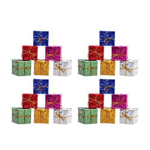 NUOBESTY Decorazioni per Alberi di Natale 60 Pezzi Ornamenti Metallici Lucidi avvolti in Confezione Regalo per Albero di Natale per Le Vacanze (Colore Casuale)